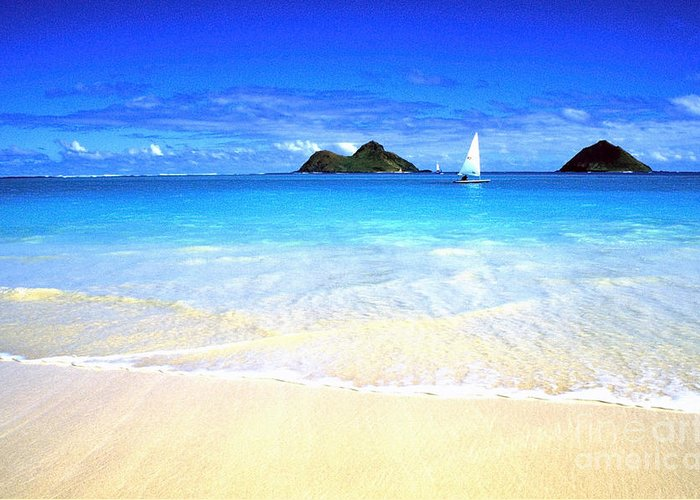 Lanikai Beach Greeting Card featuring the photograph Sailboat And Islands by Thomas R Fletcher