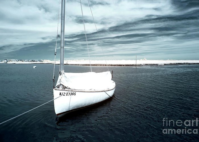 Sailboat Boat Blue Infrared Greeting Card featuring the photograph Sailboat Blue Infrared by John Rizzuto