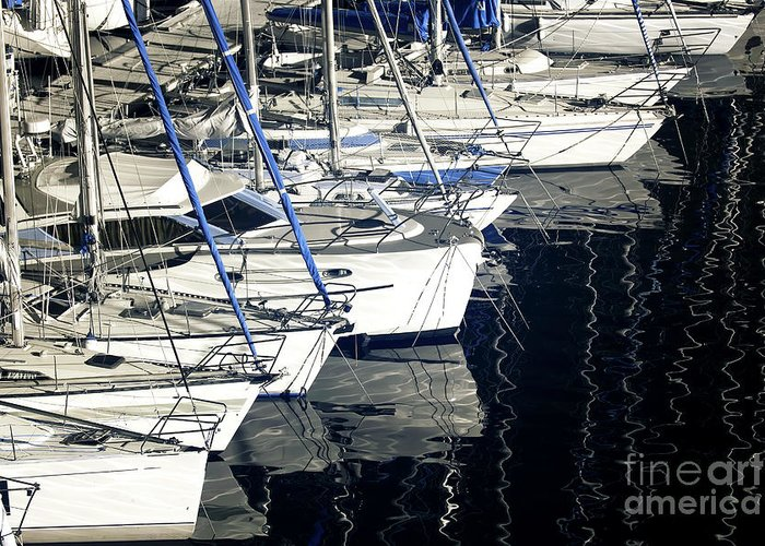 Sailboat Bow Greeting Card featuring the photograph Sailboat Bow by John Rizzuto