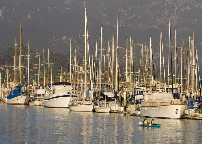 Two People Greeting Card featuring the photograph Sailboats Docked In The Santa Barbara by Rich Reid