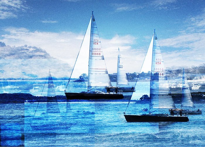 Boats Greeting Card featuring the photograph Sailboats by MW Robbins