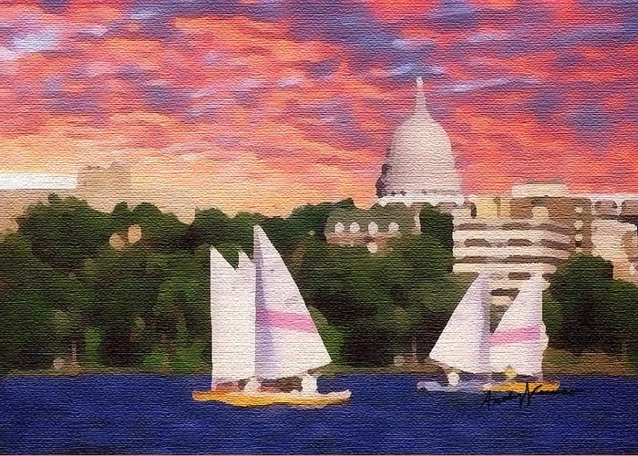 Seascape Greeting Card featuring the painting Sailing In Madison by Anthony Caruso