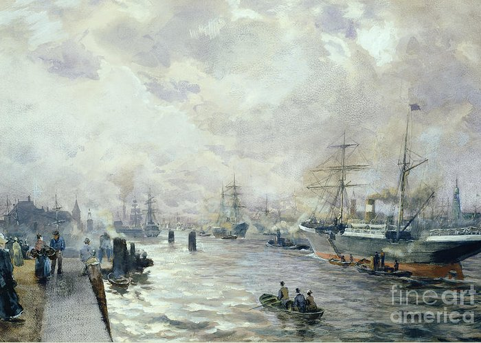 Sailing Greeting Card featuring the painting Sailing Ships In The Port Of Hamburg by Carl Rodeck