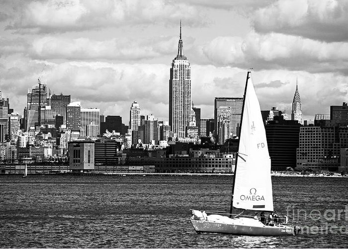 Sailing The New York Harbor Greeting Card featuring the photograph Sailing The New York Harbor by John Rizzuto