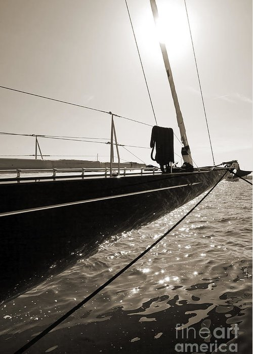 Superyacht Greeting Card featuring the photograph Sailing Yacht Hanuman J Boat Bow by Dustin K Ryan