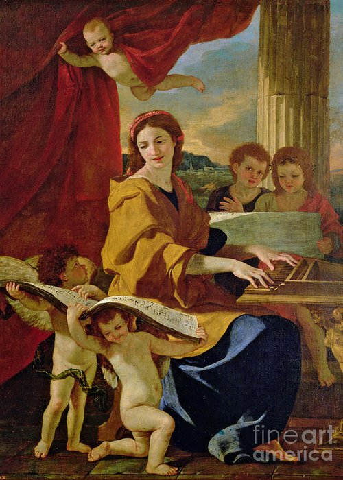 Cecilia Greeting Card featuring the painting Saint Cecilia by Nicolas Poussin