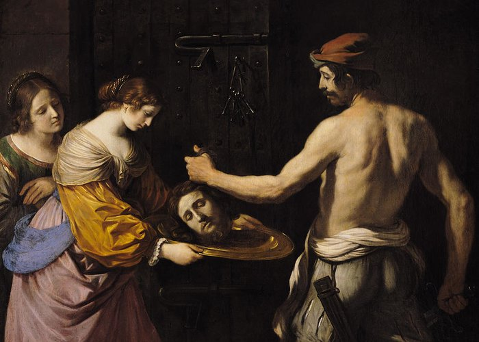 Salome Greeting Card featuring the painting Salome Receiving The Head Of St John The Baptist by Giovanni Francesco Barbieri