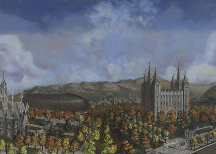 Temple Greeting Card featuring the painting Salt Lake City Temple Square Nineteen Twelve by Jeff Brimley