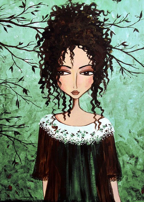 Dark Hair Greeting Card featuring the painting Samantha's Chocolate Tree by Debbie Horton