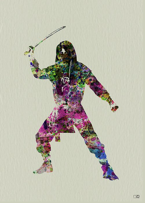 Ninja Greeting Card featuring the painting Samurai With A Sword by Naxart Studio