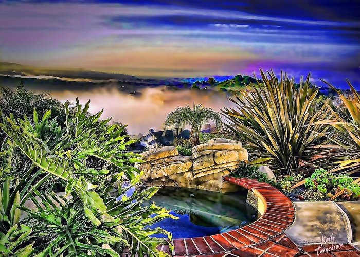 San Clemente Greeting Card featuring the photograph San Clemente Estate by Kathy Tarochione