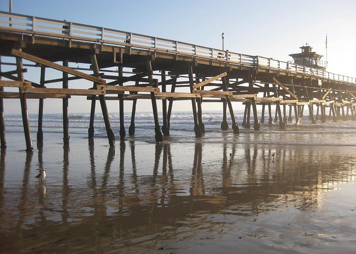 San Clemente Pier Greeting Card featuring the photograph San Clemente Pier by Lynn Watters