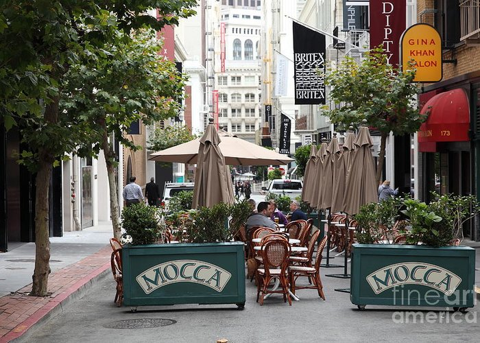 San Francisco Greeting Card featuring the photograph San Francisco - Maiden Lane - Outdoor Lunch At Mocca Cafe - 5d17932 by Wingsdomain Art and Photography