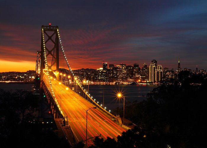 San Francisco Greeting Card featuring the photograph San Francisco Bay Bridge At Sunset by Pierre Leclerc Photography