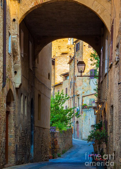 Europe Greeting Card featuring the photograph San Gimignano Archway by Inge Johnsson
