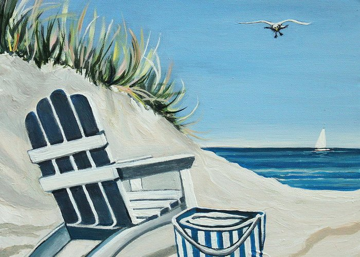 Beach Greeting Card featuring the painting Sandy Cove by Elizabeth Robinette Tyndall