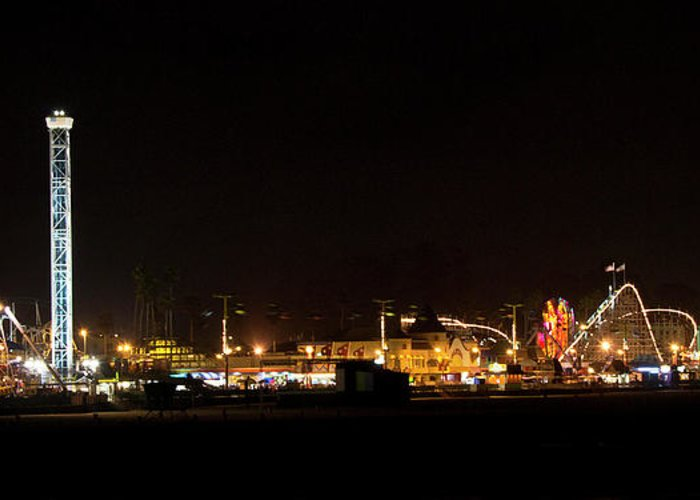 Santa Greeting Card featuring the photograph Santa Cruz Boardwalk By Night by Brendan Reals