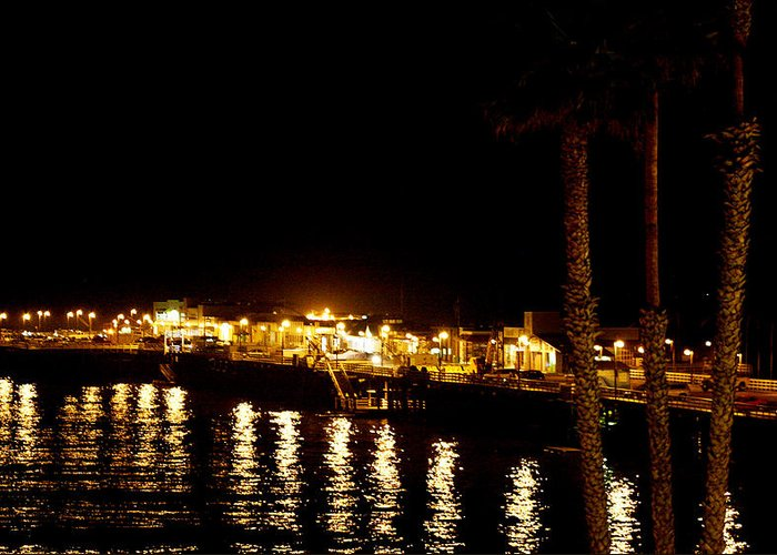 Pier Greeting Card featuring the photograph Santa Cruz Pier At Night by Marilyn Hunt