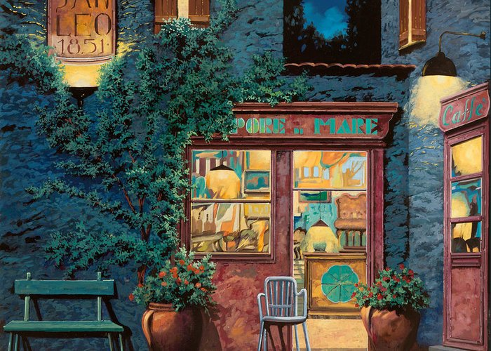 Courtyard Greeting Card featuring the painting Sapore Di Mare by Guido Borelli