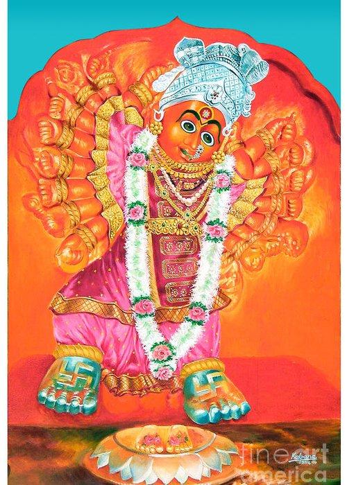 Saptashrungi Devi Nasik Greeting Card featuring the painting Saptashrungi Devi Nasik Maharashtra by Kalpana Talpade Ranadive