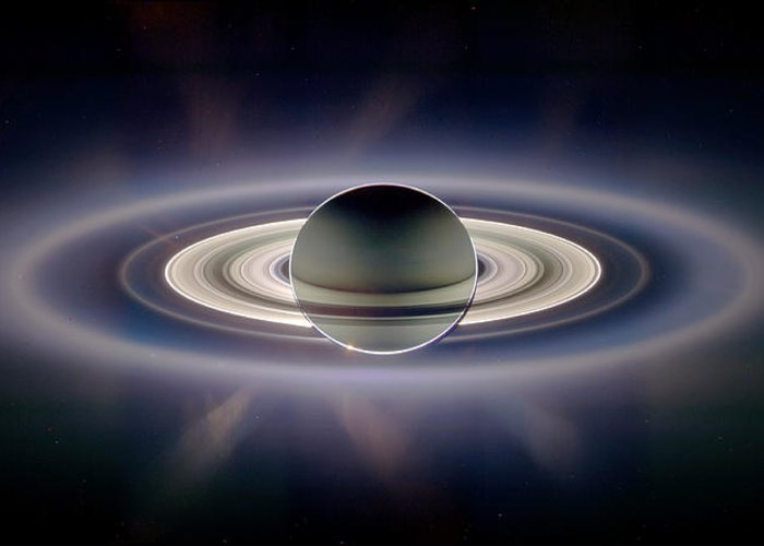 Saturn Greeting Card featuring the photograph Saturn Silhouetted, Cassini Image by Nasajplspace Science Institute