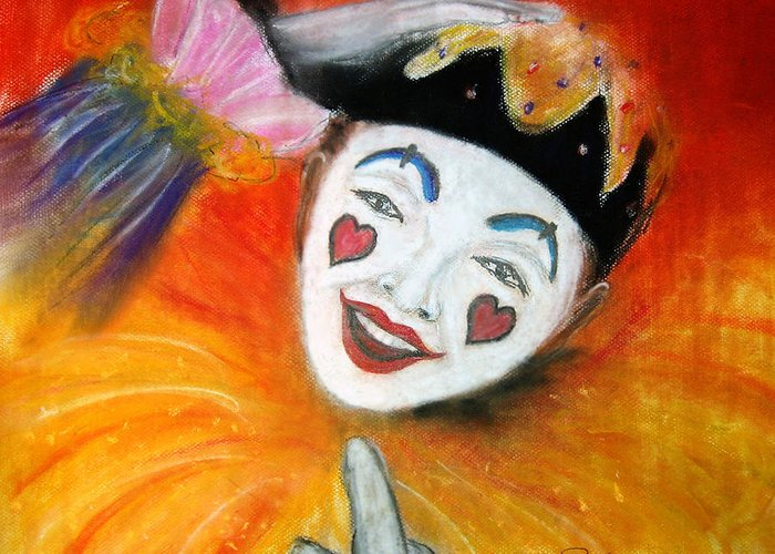 Clowns Greeting Card featuring the painting Say It With A Smile by Leonardo Ruggieri