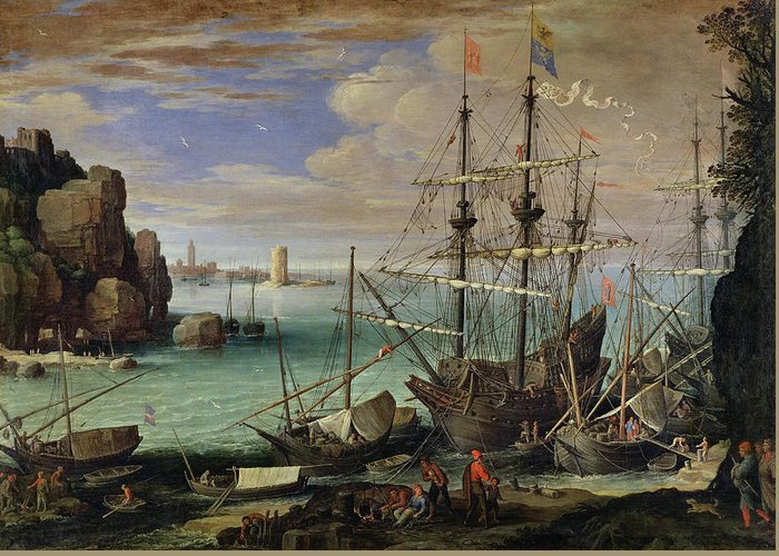 Scene Greeting Card featuring the painting Scene Of A Sea Port by Paul Bril