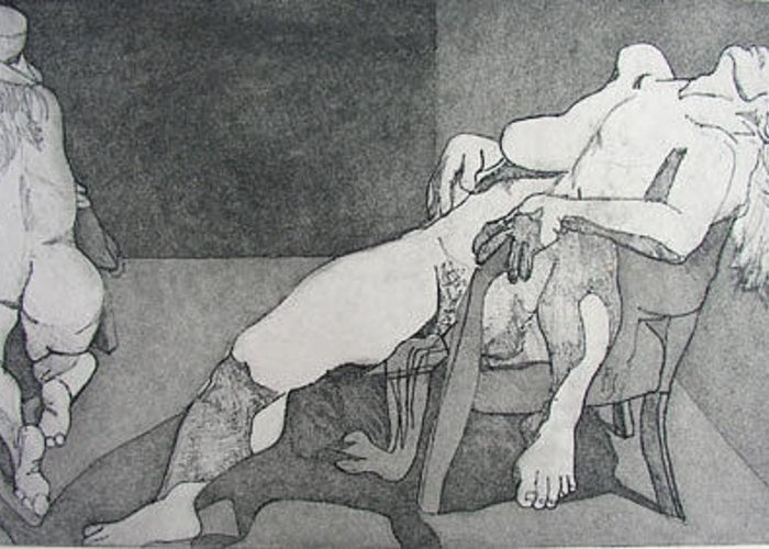 Etching Greeting Card featuring the drawing Schizoid by Brad Wilson
