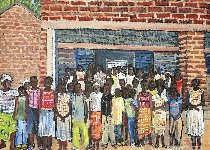 Africa Greeting Card featuring the painting School Class Burkina Faso Series by Reb Frost