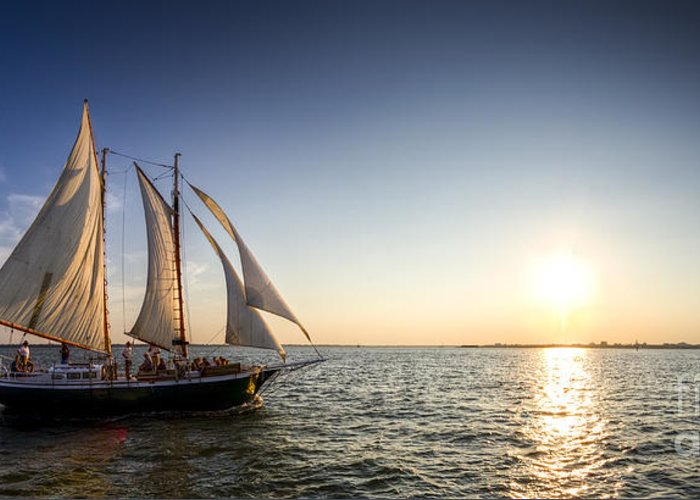 Schooner Welcome Sunset Sail Greeting Card featuring the photograph Schooner Welcome Sunset Charleston Sc by Dustin K Ryan