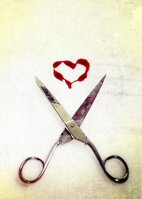 Scissors Greeting Card featuring the photograph Scissors And Heart by Joana Kruse