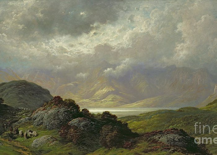 Scottish Greeting Card featuring the painting Scottish Landscape by Gustave Dore