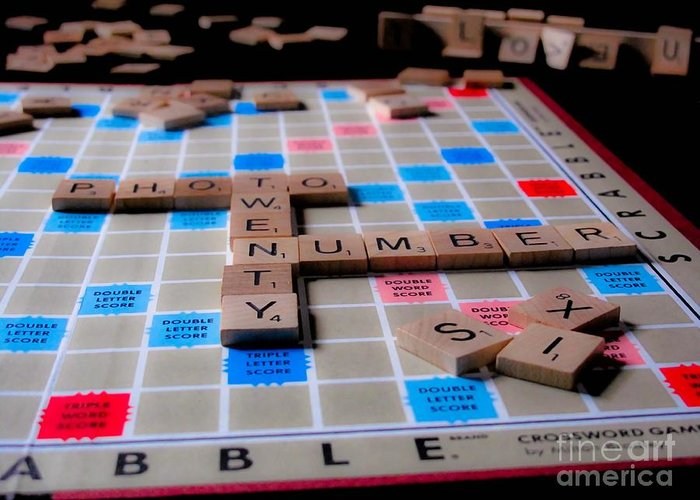 Scrabble Greeting Card featuring the photograph Scrabble by Valerie Morrison