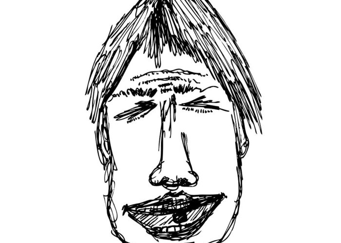 Drawing Greeting Card featuring the drawing Scribble Line Face by Karl Addison