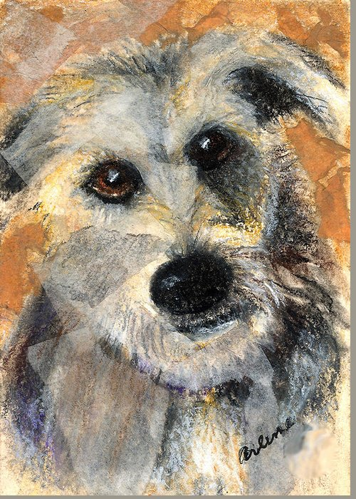 Dog Greeting Card featuring the mixed media Scruffy by Arline Wagner