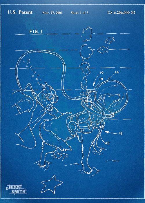 Scuba Greeting Card featuring the digital art Scuba Doggie Patent Artwork 1893 by Nikki Marie Smith