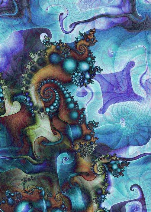 Fractal Greeting Card featuring the digital art Sea Jewels by David April