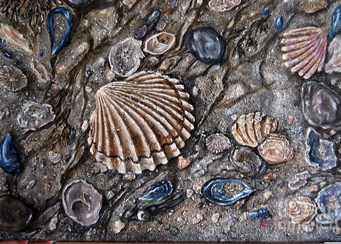 Oil Painting Greeting Card featuring the painting Sea Shore by Avril Brand