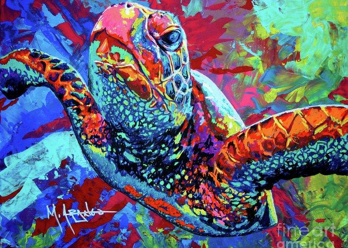 Sea Turtle Greeting Card featuring the painting Sea Turtle by Maria Arango