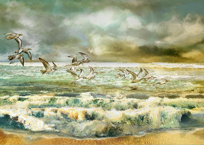 Seagull Greeting Card featuring the painting Seagulls At Sea by Anne Weirich