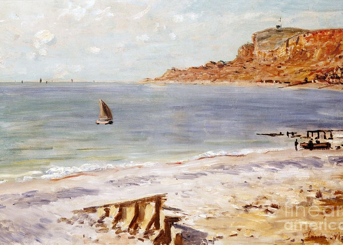 Seascape At Sainte-adresse (oil On Canvas) By Claude Monet (1840-1926) Greeting Card featuring the painting Seascape At Sainte Adresse by Claude Monet