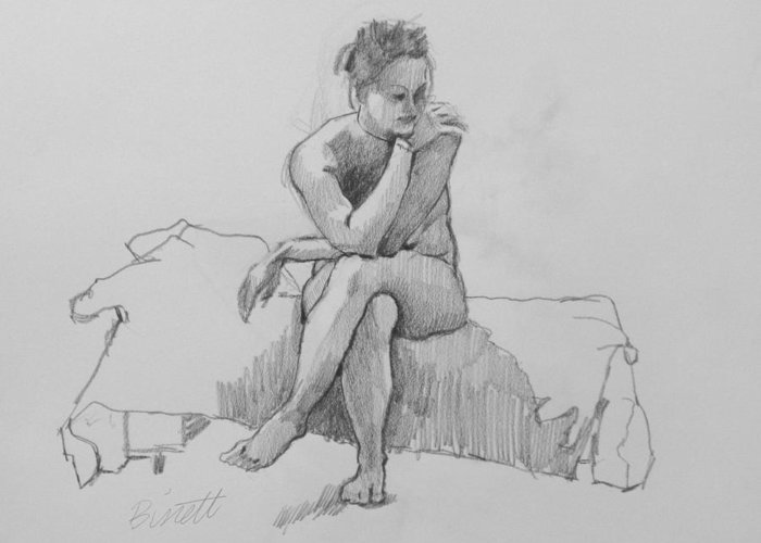 Life Greeting Card featuring the drawing Seated Nude 2 by Robert Bissett