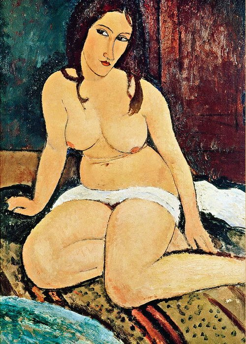 Seated Greeting Card featuring the painting Seated Nude by Amedeo Modigliani