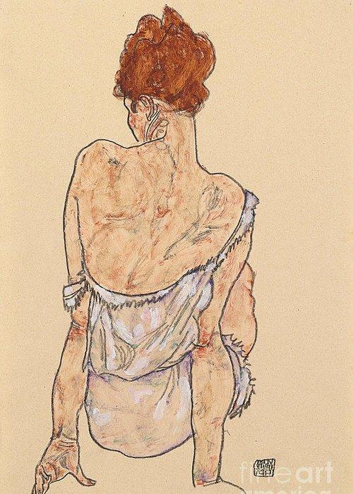 Seated Woman In Underwear Greeting Card featuring the drawing Seated Woman In Underwear by Egon Schiele