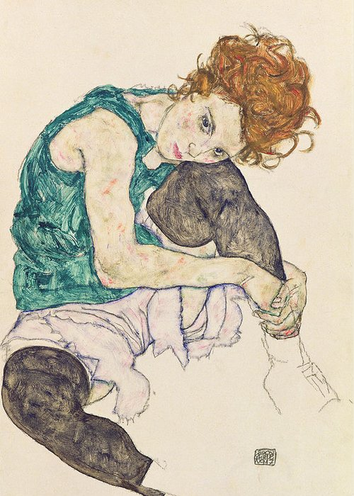 Seated Greeting Card featuring the painting Seated Woman With Bent Knee by Egon Schiele