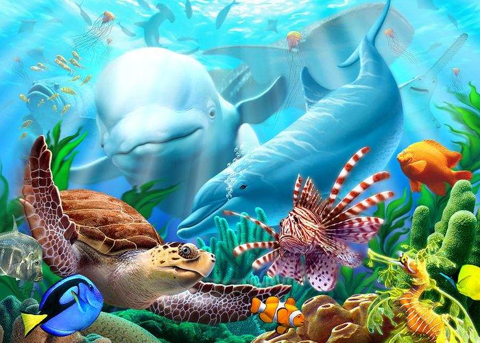 Beluga Whale Greeting Card featuring the digital art Seavilians by Jerry LoFaro