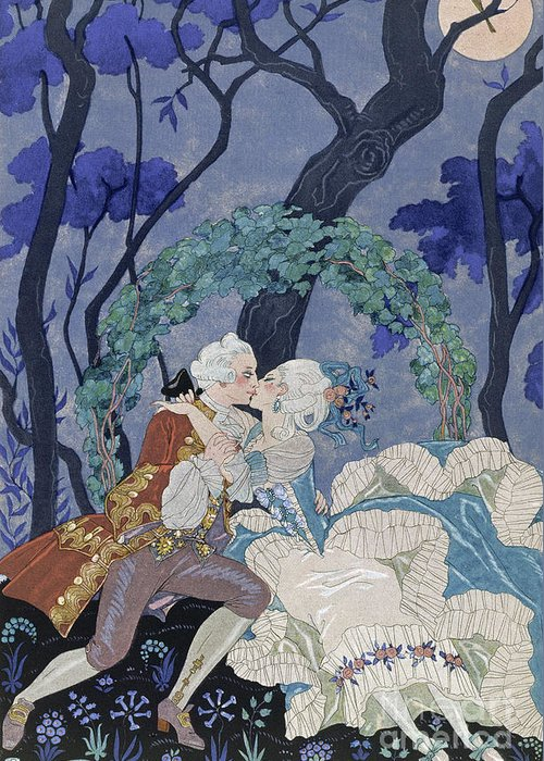 Secret Kiss Greeting Card featuring the painting Secret Kiss by Georges Barbier