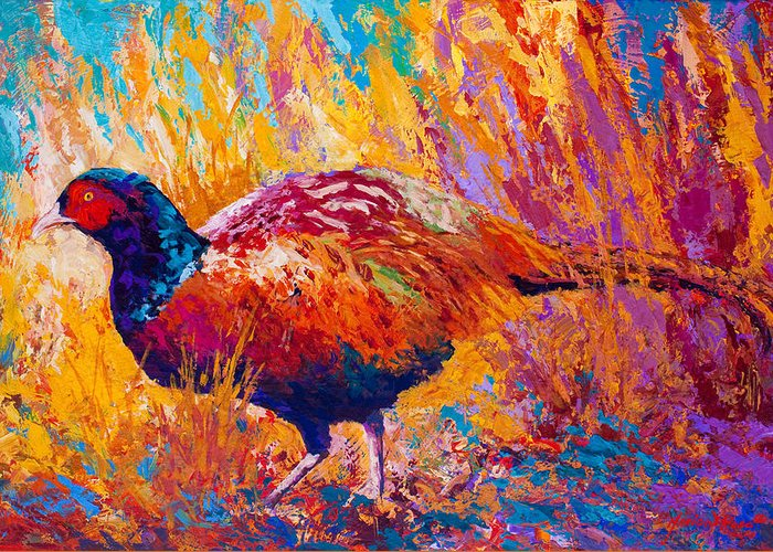 Pheasant Greeting Card featuring the painting Secrets In The Grass - Pheasant by Marion Rose