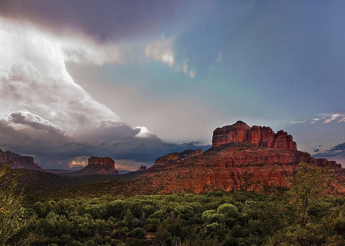 Sedona Greeting Card featuring the photograph Sedona Drama by Dave Dilli