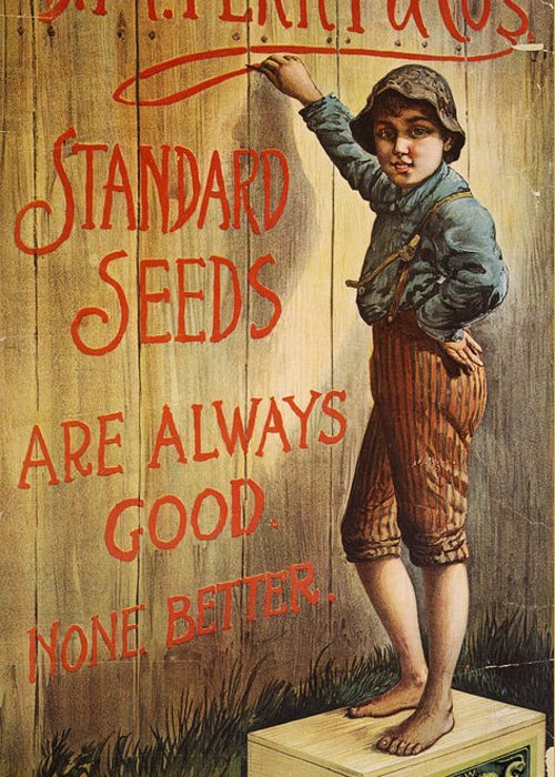 1890 Greeting Card featuring the photograph Seed Company Poster, C1890 by Granger